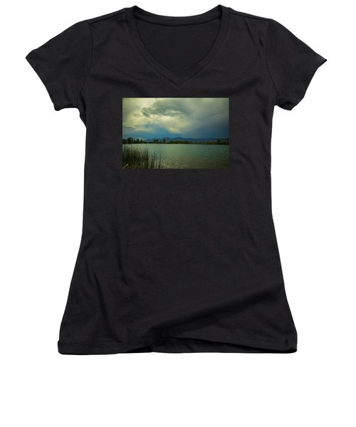 Women's V-Neck T-Shirt featuring the photograph Head In The Clouds by James BO Insogna