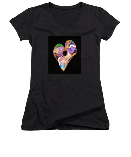 Women's V-Neck T-Shirt (Junior Cut) featuring the painting Heart Bowl by Bob Coonts