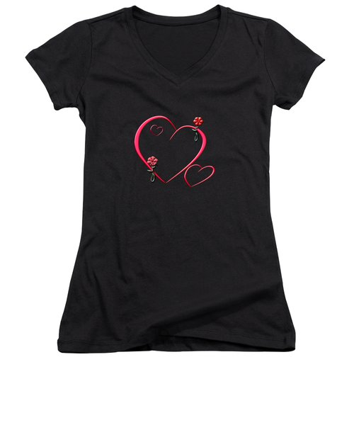 Hearts And Flowers Women's V-Neck T-Shirt (Junior Cut) by Judy Hall-Folde
