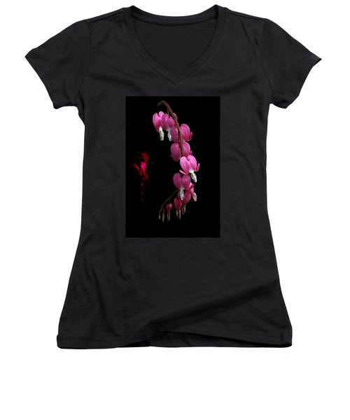 Women's V-Neck T-Shirt (Junior Cut) featuring the photograph Hearts In The Dark by Susan Capuano