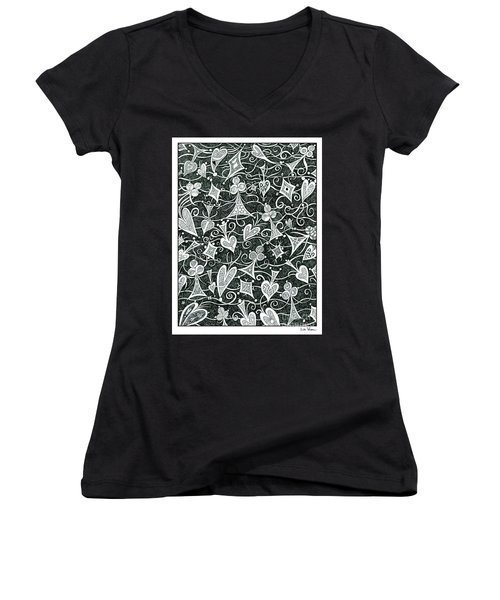 Hearts, Spades, Diamonds And Clubs In Black Women's V-Neck