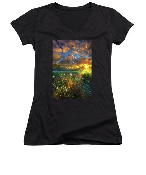 Heaven Knows Women's V-Neck T-Shirt (Junior Cut) by Phil Koch