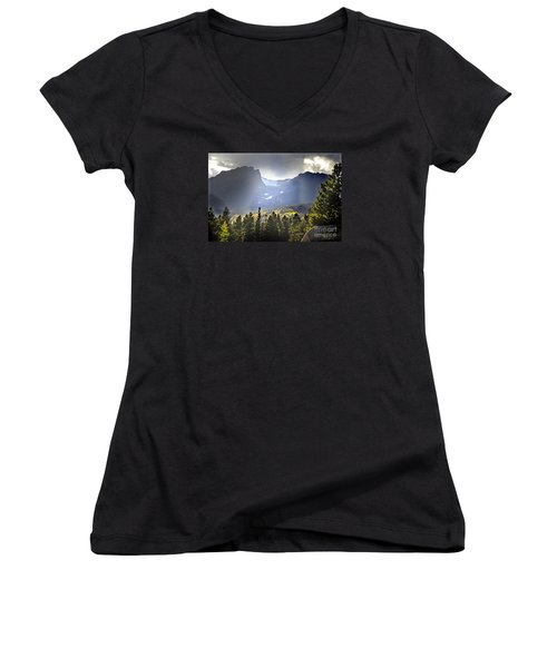 Women's V-Neck T-Shirt (Junior Cut) featuring the photograph Heavenly Rockies  Rmnp by Nava Thompson