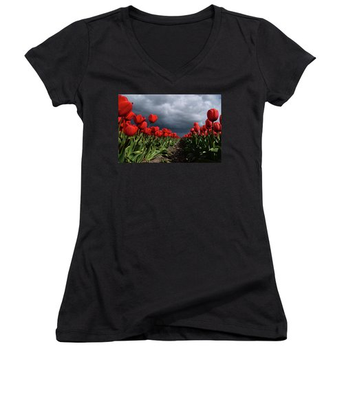 Heavy Clouds Over Red Tulips Women's V-Neck T-Shirt (Junior Cut) by Mihaela Pater