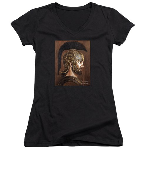 Women's V-Neck T-Shirt (Junior Cut) featuring the painting Hector by Arturas Slapsys