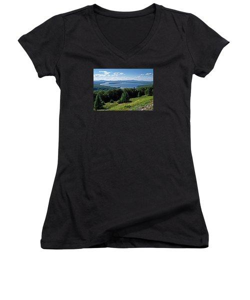 Height Of The Land Overlooking Mooselookmeguntic Lake Women's V-Neck T-Shirt (Junior Cut) by Joy Nichols