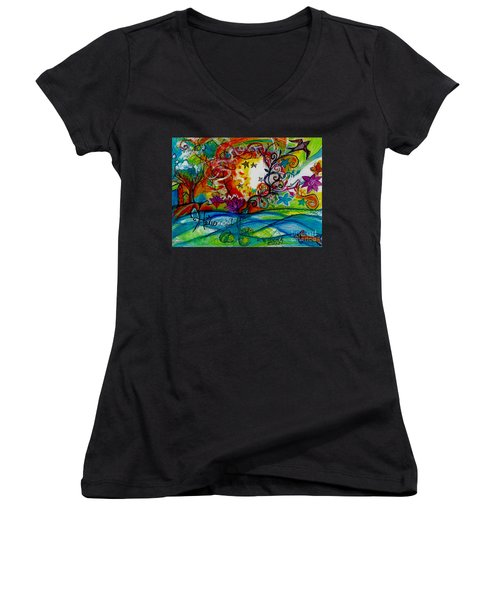 Women's V-Neck T-Shirt (Junior Cut) featuring the painting Helios And Ophelia  by Genevieve Esson