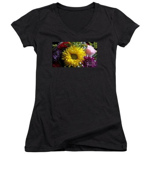 Hello Sunshine Women's V-Neck T-Shirt (Junior Cut) by Becky Lupe