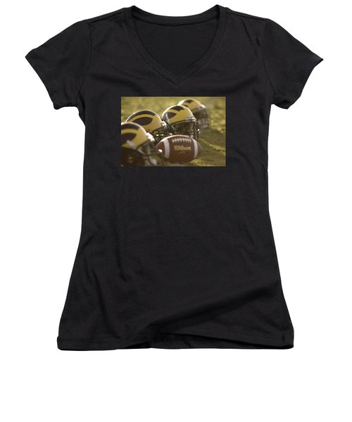 Helmets And A Football On The Field At Dawn Women's V-Neck (Athletic Fit)