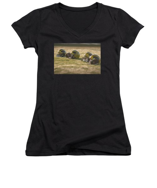 Women's V-Neck (Athletic Fit) featuring the photograph Helmets In Golden Dawn Sunlight by Michigan Helmet