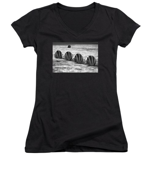 Helmets On Dew-covered Field At Dawn Black And White Women's V-Neck (Athletic Fit)