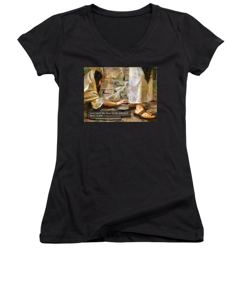 Hem Of His Garment And Text Women's V-Neck (Athletic Fit)
