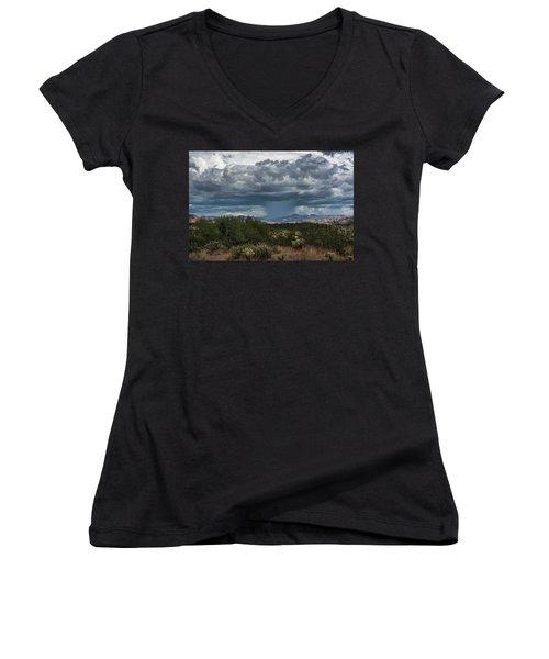 Women's V-Neck T-Shirt featuring the photograph Here Comes The Rain Again by Saija Lehtonen
