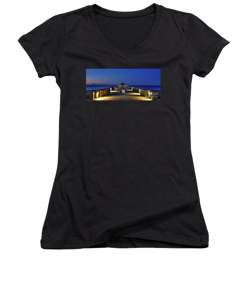 Women's V-Neck T-Shirt (Junior Cut) featuring the photograph Here It Comes Now Folly Beach Pier Sunrise Art by Reid Callaway