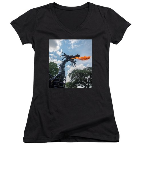 Here There Be Dragons Women's V-Neck (Athletic Fit)