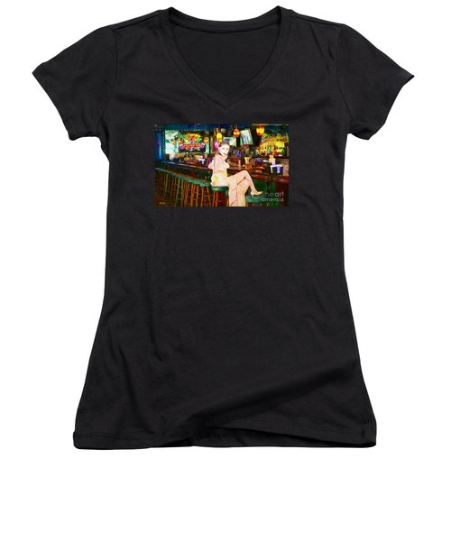 Women's V-Neck T-Shirt (Junior Cut) featuring the painting Here's To You by Judy Kay