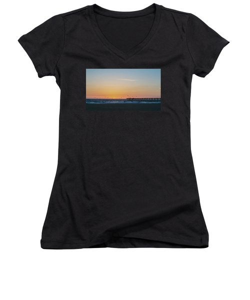 Hermosa Beach Pier At Sunset With Seagulls Women's V-Neck T-Shirt (Junior Cut) by Mark Barclay