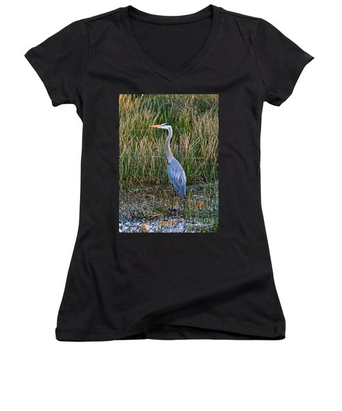 Heron At Sunset Women's V-Neck T-Shirt
