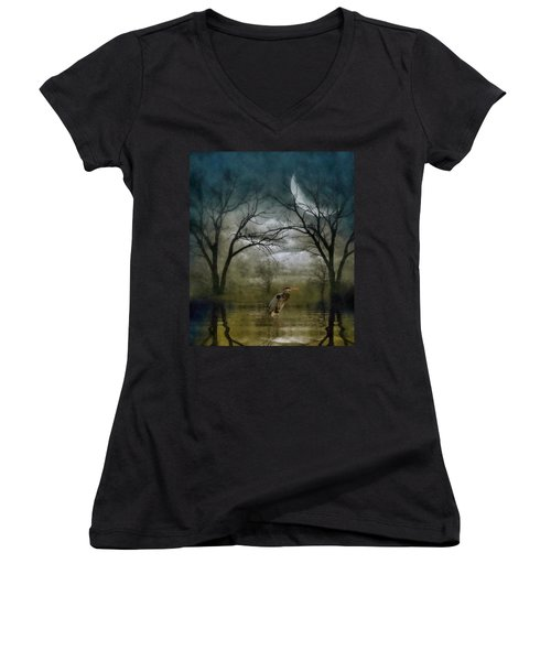 Heron By Moon Glow  Women's V-Neck T-Shirt (Junior Cut) by Andrea Kollo