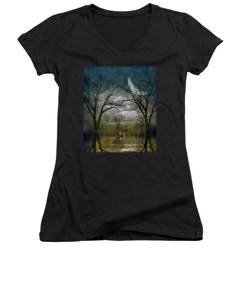 Heron By Moon Glow  Women's V-Neck T-Shirt