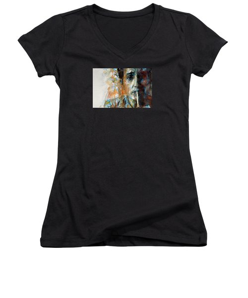 Hey Mr Tambourine Man @ Full Composition Women's V-Neck T-Shirt (Junior Cut) by Paul Lovering