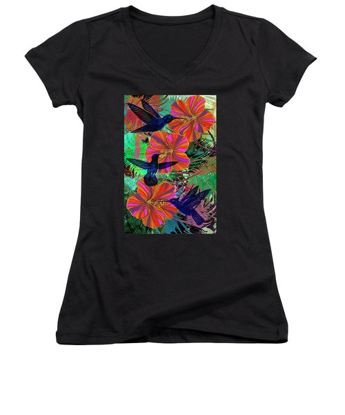 Hibiscus And Hummers Women's V-Neck