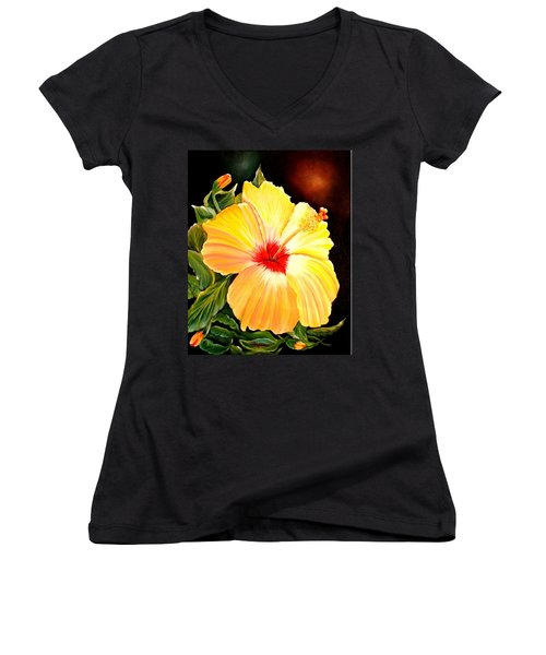 Hibiscus Glory Women's V-Neck T-Shirt (Junior Cut)