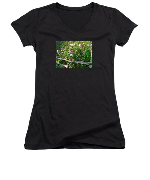 Hibiscus Hedge Women's V-Neck T-Shirt (Junior Cut) by Randy Rosenberger