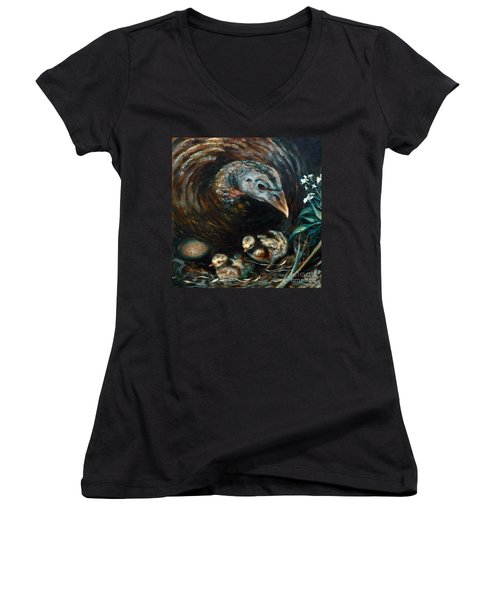 Women's V-Neck T-Shirt (Junior Cut) featuring the painting Hidden Treasures by Suzanne McKee
