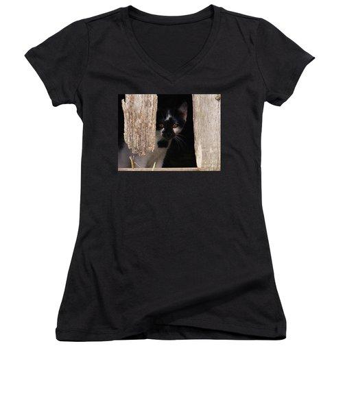 Women's V-Neck T-Shirt (Junior Cut) featuring the photograph Hide And Seek by J L Zarek