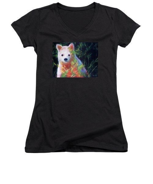 Hiding In The Vines Women's V-Neck T-Shirt (Junior Cut) by Angela Treat Lyon