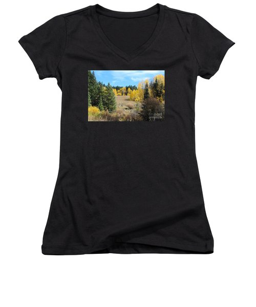 High Country Autumn Colors In Colorado Women's V-Neck (Athletic Fit)