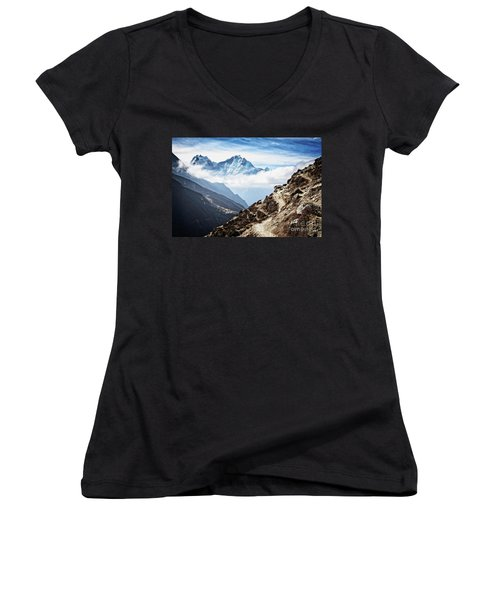 High In The Himalayas Women's V-Neck T-Shirt