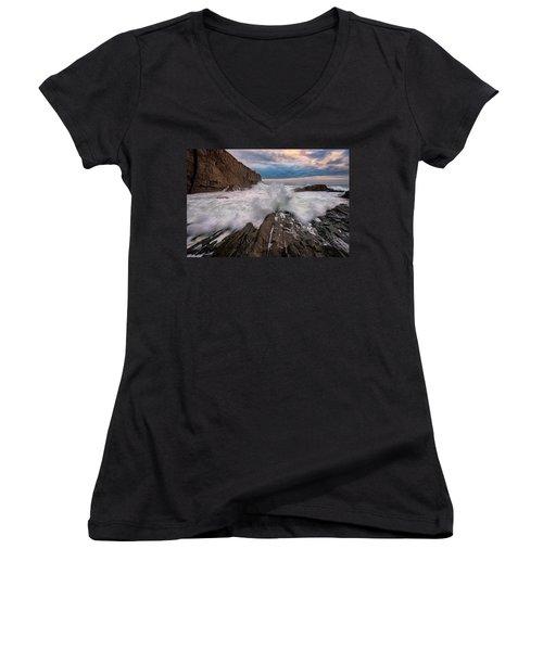 Women's V-Neck T-Shirt (Junior Cut) featuring the photograph High Tide At Bald Head Cliff by Rick Berk