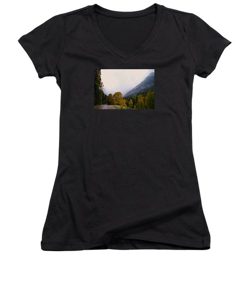 Women's V-Neck T-Shirt (Junior Cut) featuring the photograph Highlands by Laura Ragland