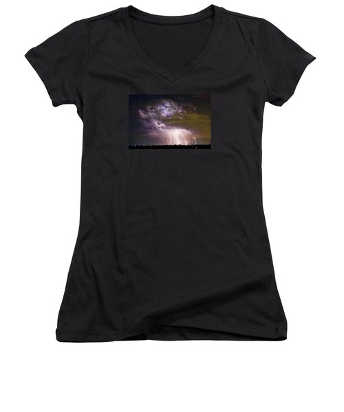 Highway 52 Storm Cell - Two And Half Minutes Lightning Strikes Women's V-Neck T-Shirt