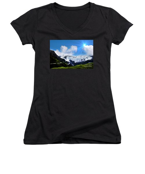 Women's V-Neck T-Shirt (Junior Cut) featuring the photograph Highway Through The Andes - Painting by Al Bourassa