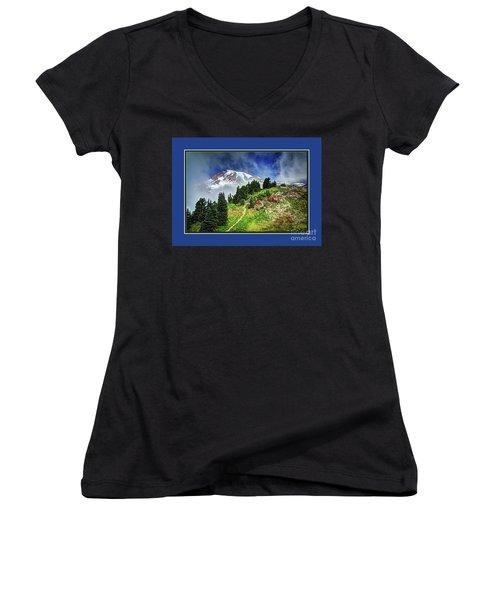 Hiking Rainier Women's V-Neck (Athletic Fit)