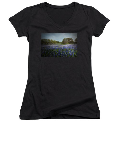 Hill Country Ranch Women's V-Neck T-Shirt (Junior Cut) by Susan Rovira