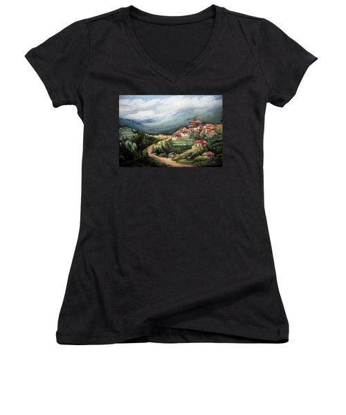 Himalayan Village  Women's V-Neck T-Shirt