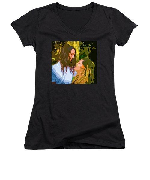 Hip Lovers Women's V-Neck T-Shirt (Junior Cut) by Josy Cue