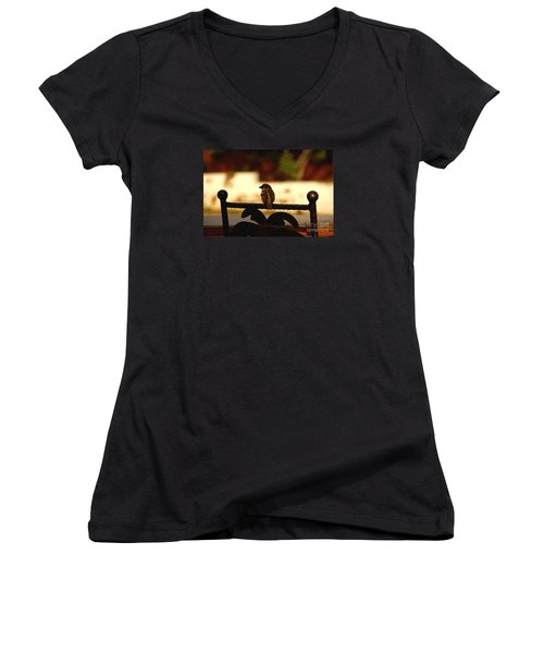 His Eye Is On The Sparrow Women's V-Neck T-Shirt (Junior Cut) by Linda Shafer