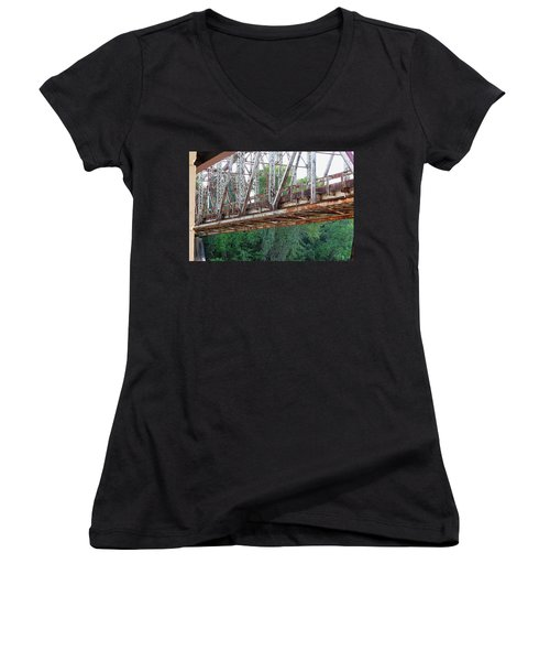 Historic Brazoria Bridge Women's V-Neck (Athletic Fit)