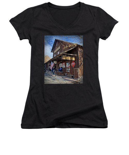 Historic Butte Creek Mill Women's V-Neck T-Shirt (Junior Cut) by Mick Anderson
