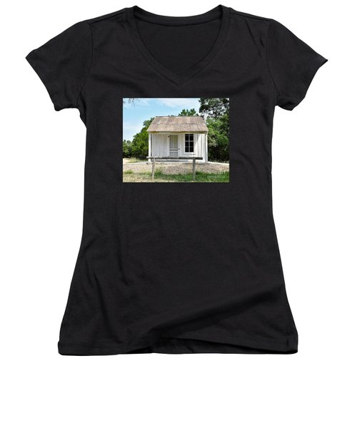 Women's V-Neck T-Shirt (Junior Cut) featuring the photograph Historic Clint's Cabin by Ray Shrewsberry