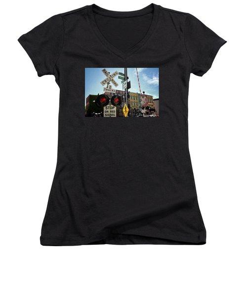 Historic Depot Town Ypsilanti Mi Women's V-Neck (Athletic Fit)