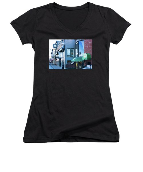 Women's V-Neck T-Shirt (Junior Cut) featuring the photograph Historic Newport Buildings by Nancy De Flon