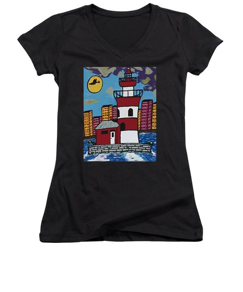 Historical Michigan Lighthouse Women's V-Neck T-Shirt