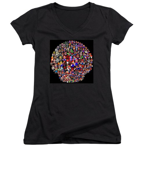History Of Mario Mosaic Women's V-Neck (Athletic Fit)