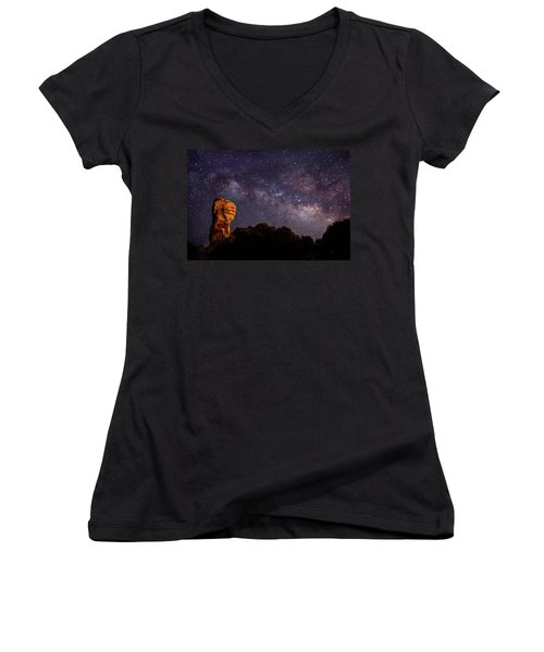 Hitchcock Pinnacle Nightscape -- Milky Way Women's V-Neck